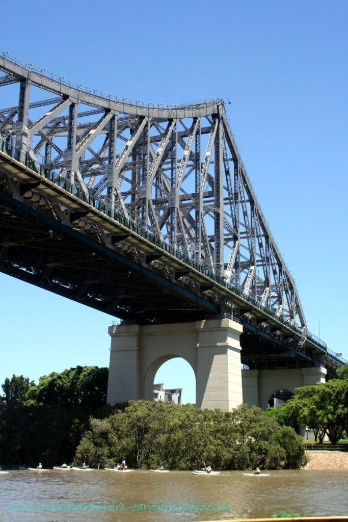 Kayaking groups enjoy a different view of the Story Bridge, Brisbane, Australia!