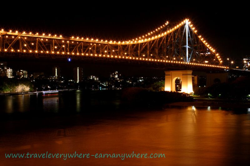 Night Falls Over the Story Bridge Brisbane, Australia