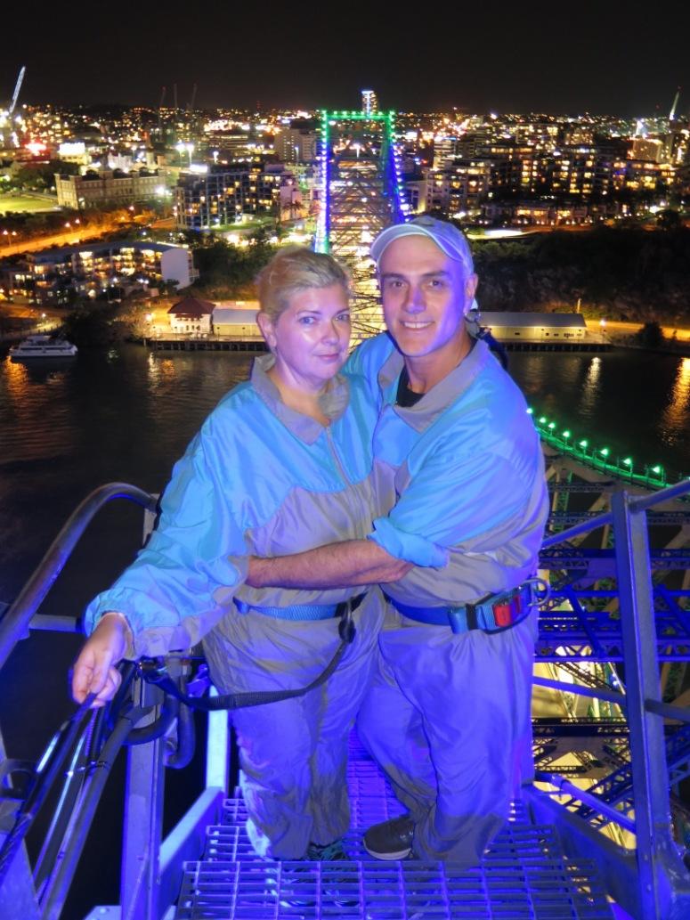 Rach and Chris at the top of Story Bridge, Brisbane, Australia