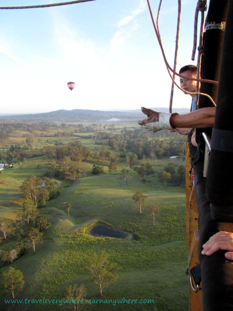 Peacefully drifting in the morning breeze hot air ballooning