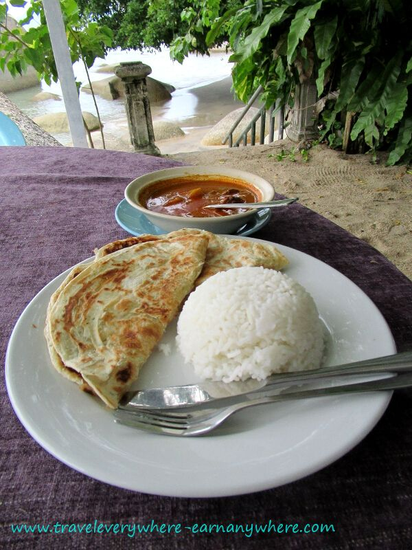 Lamb curry with Roti and Rice