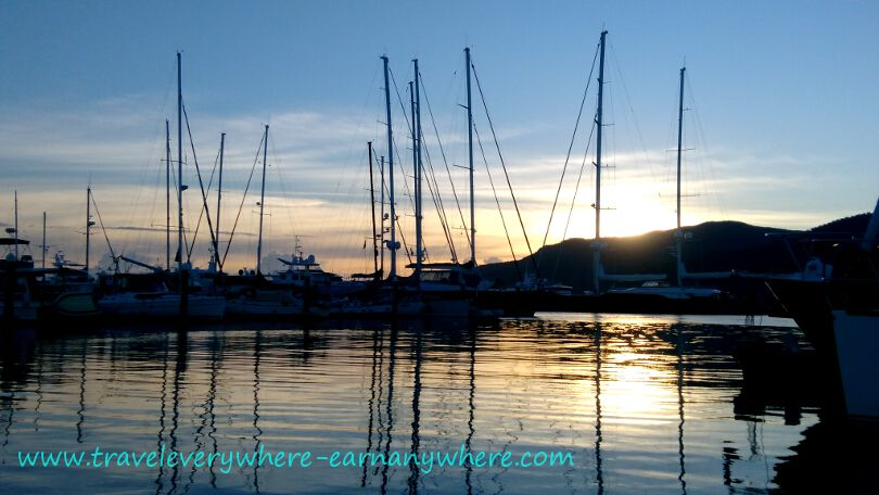 Beautiful, peaceful sunrise over the marina in Cairns, Australia